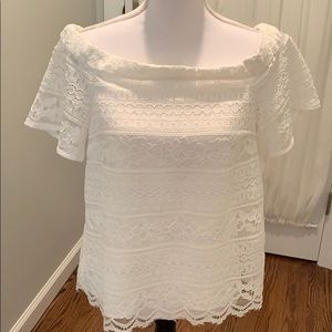 NWT White Lace Off-Shoulder Top